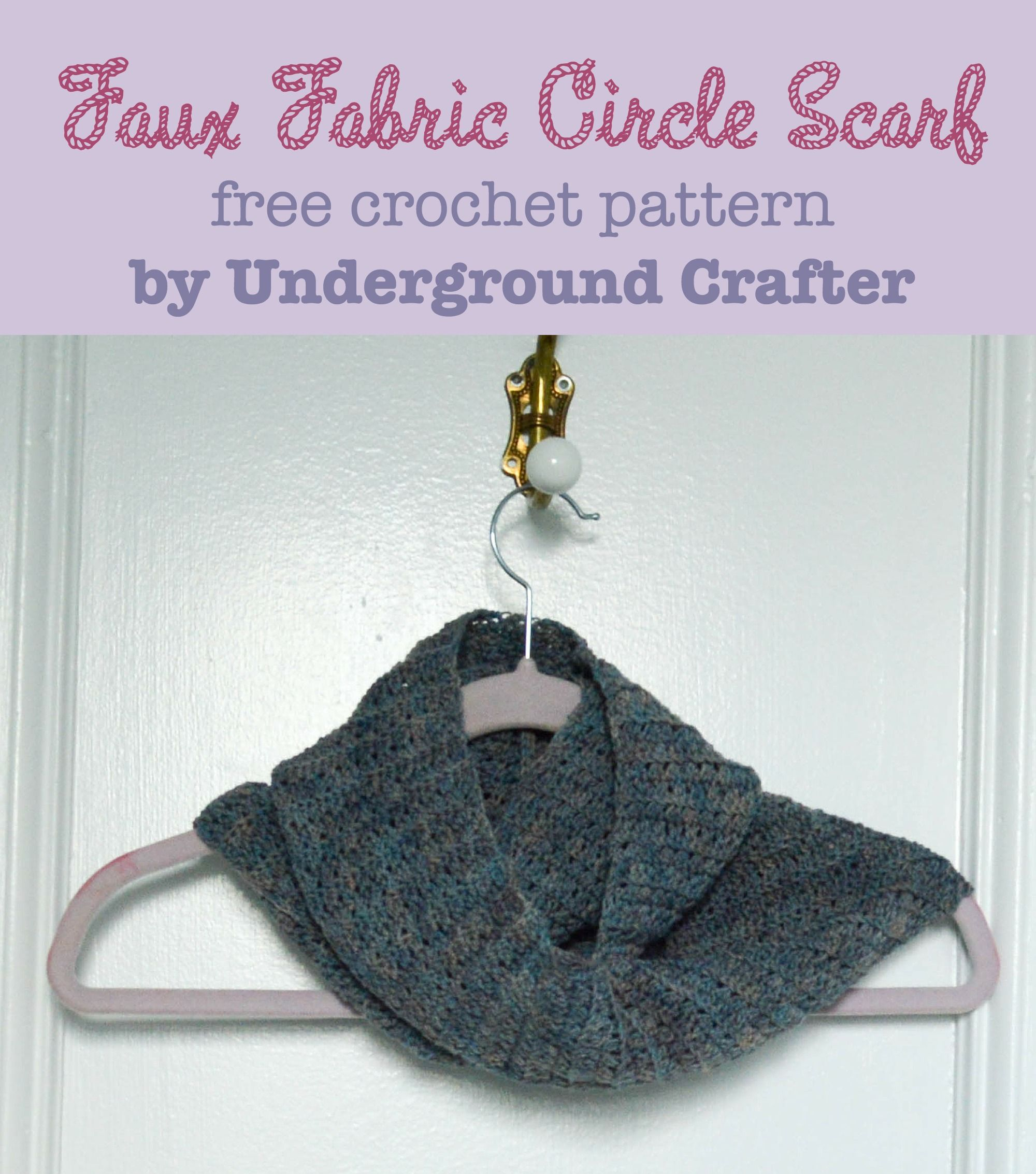 Faux Fabric Circle Scarf, free #crochet pattern | Tejido