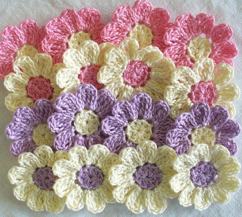 Crochet Daisy Flowers for Scrapbooking - set of 16, handmade, violet ...