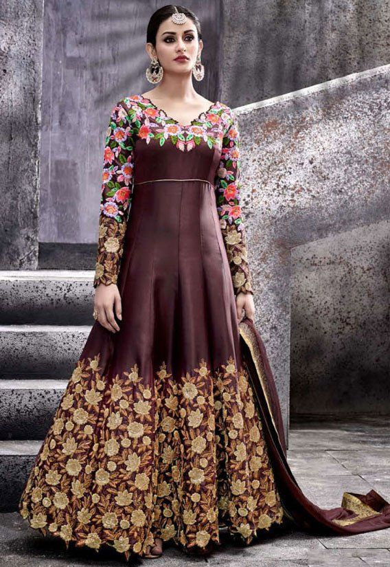 5f475a2171a8 Melodic Coffee Brown  Anarkali  Suit