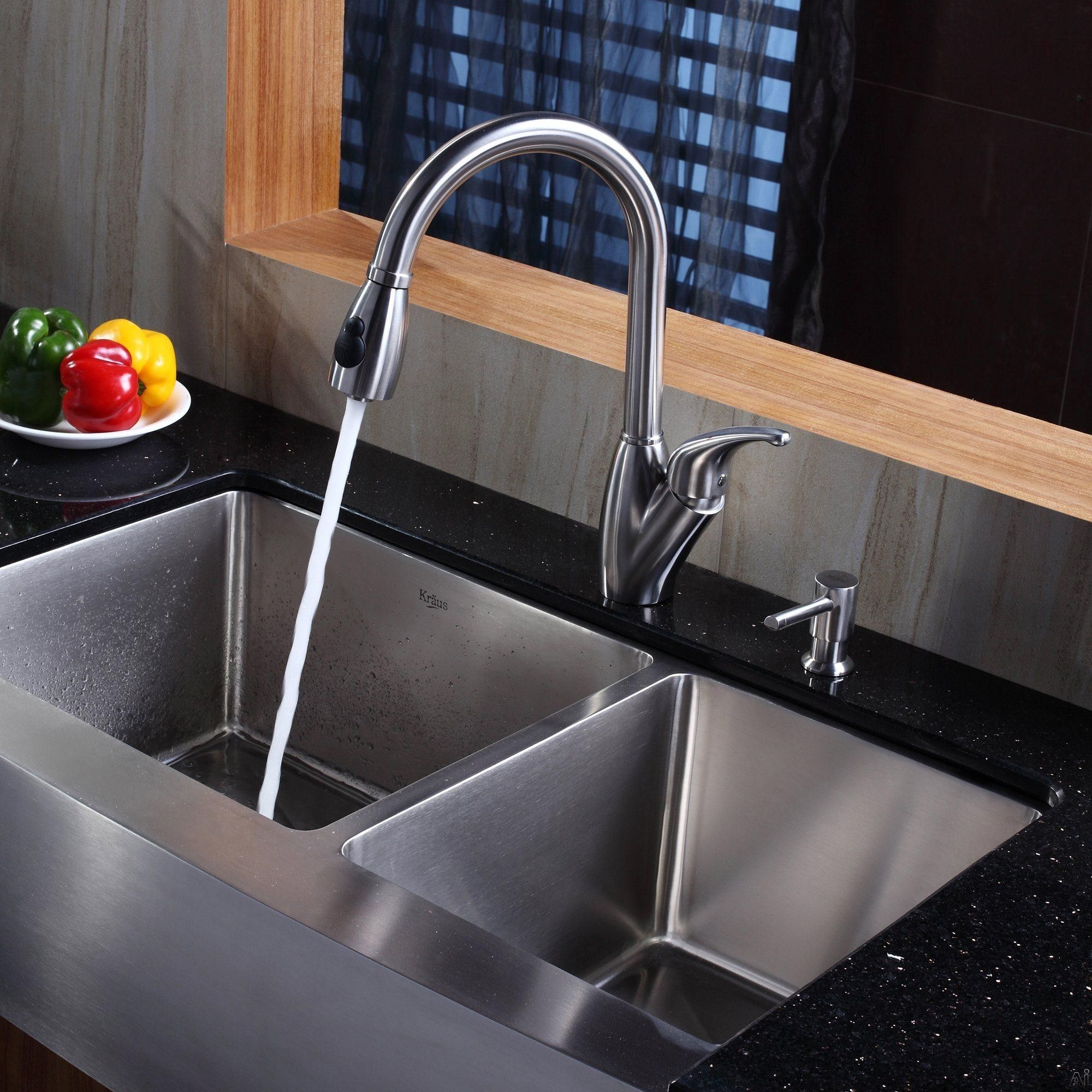 Kraus Khf20336kpf2120sd20 36 Inch Stainless Steel 60 40 Double Bowl Apron Kitchen Sink With 16 Gauge 10 Inch Bowl Depth Rear Set Drain Opening And Stone Guard Farmhouse Sink Kitchen Double Bowl Kitchen Sink