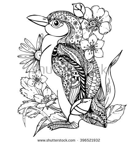 hand drawn ink doodle penguin and flowers on white background coloring page zendala - Penguin Coloring Sheet