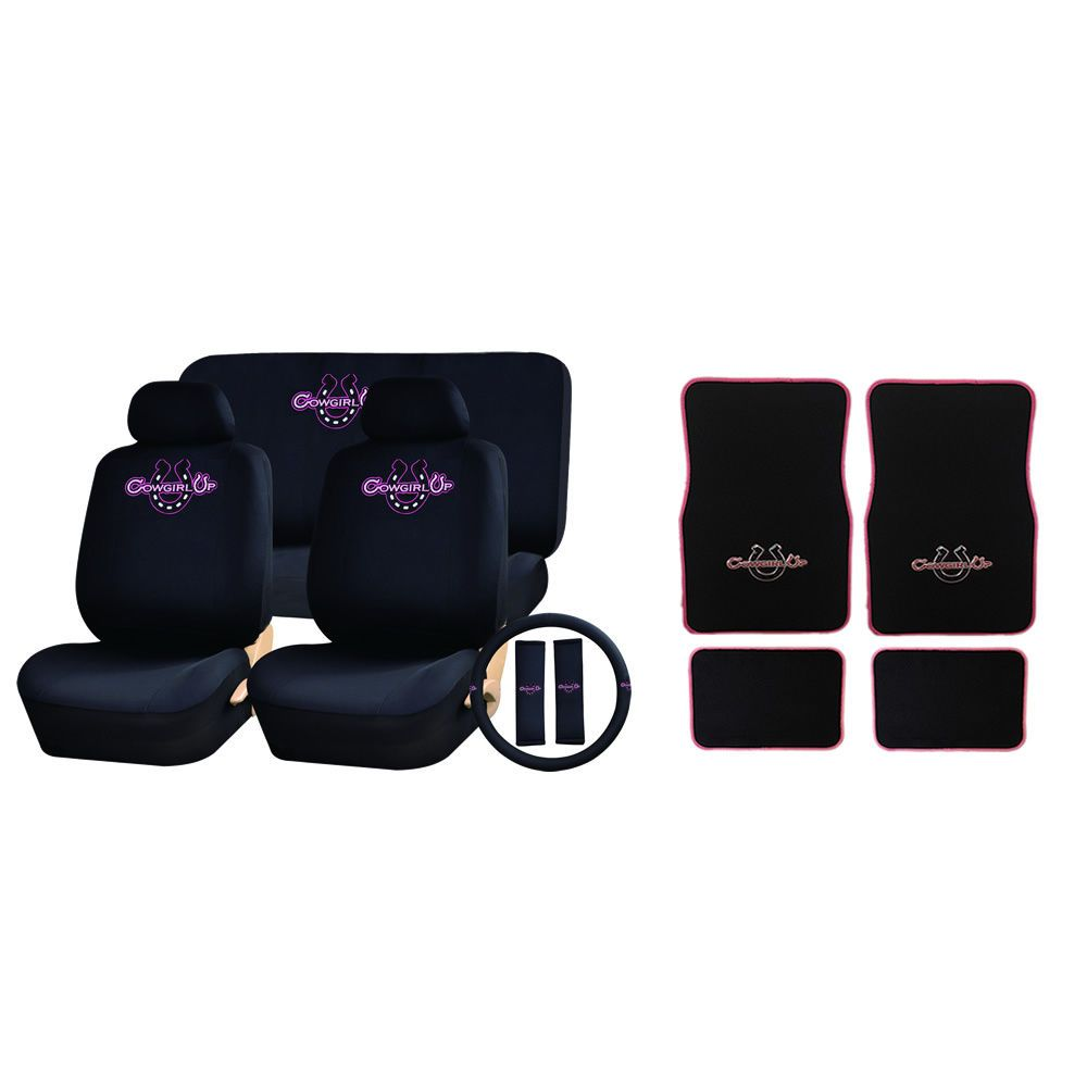 Floor mats and carpets - 15 Pc Cowgirl Up Black Pink Seat Covers Carpet Floor Mats Set New Universal Uaainc