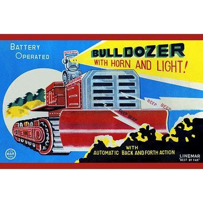 "Buyenlarge 'Battery Operated Bulldozer with Horn and Light' Vintage Advertisement Size: 30"" H x 20"" W"