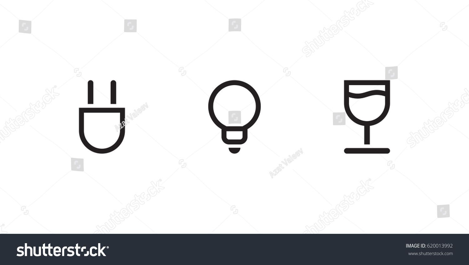 Graphic Drawings Electric Fork Bulb Wine Glass On White Background