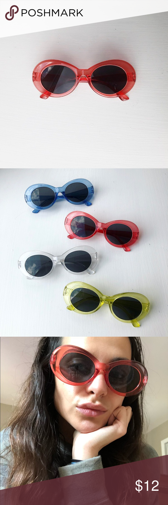 Red Transparent Sunglasses Limited Edition Kurt Cobain Glasses 90s Oval Clout Goggles Transparent Red Transparent Sunglasses Sunglasses Vintage Red Jelly