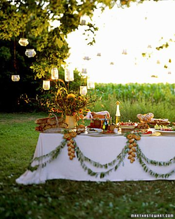 Outdoor Green Wedding Buffet Table   Used Photo For Gussy Sews Inspiration  Workshop Linkup Party 3