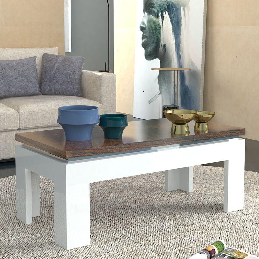 Table basse blanc laqué et couleur bois NEMESIS | Table basse ...