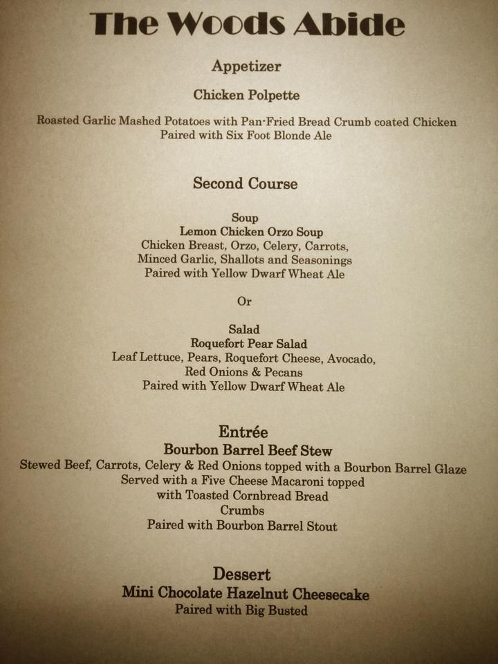 A Sample Menu From A Beer Pairing Dinner Hosted By Big