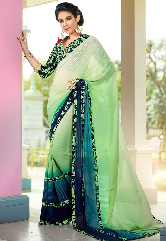 Pastel Green and Teal Blue Casual #PartyWear #Saree