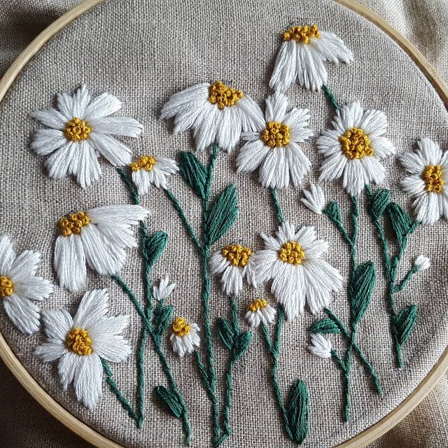 PDF Pattern Wild Daisies DIY - Thread Unraveled - Beginner Embroidery Pattern