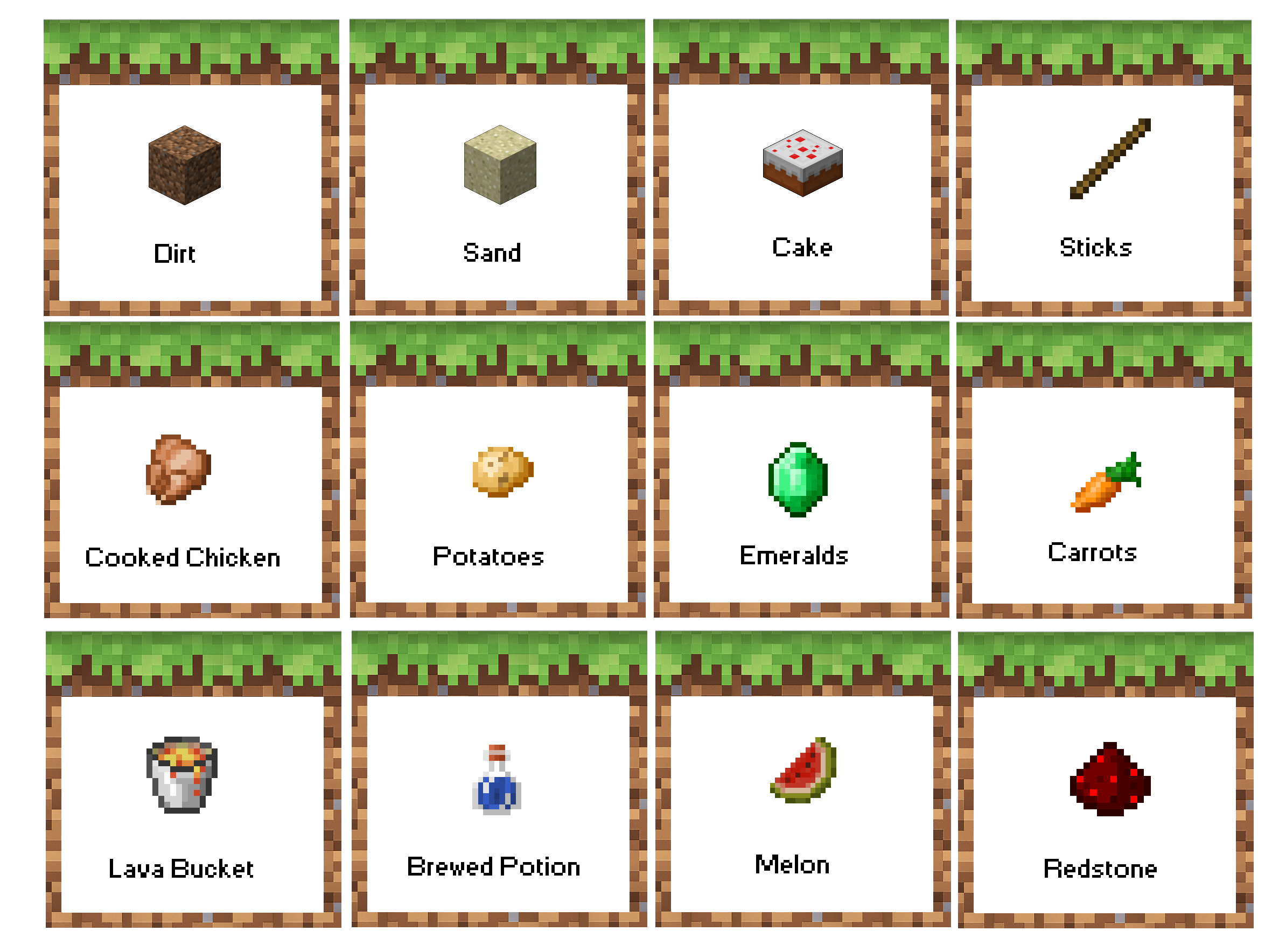 Minecraft Birthday Party Food Labels Free Printable Menu Based On Dirt Coco Crispy Treats Sand Ri Minecraft Food Minecraft Birthday Minecraft Food Labels