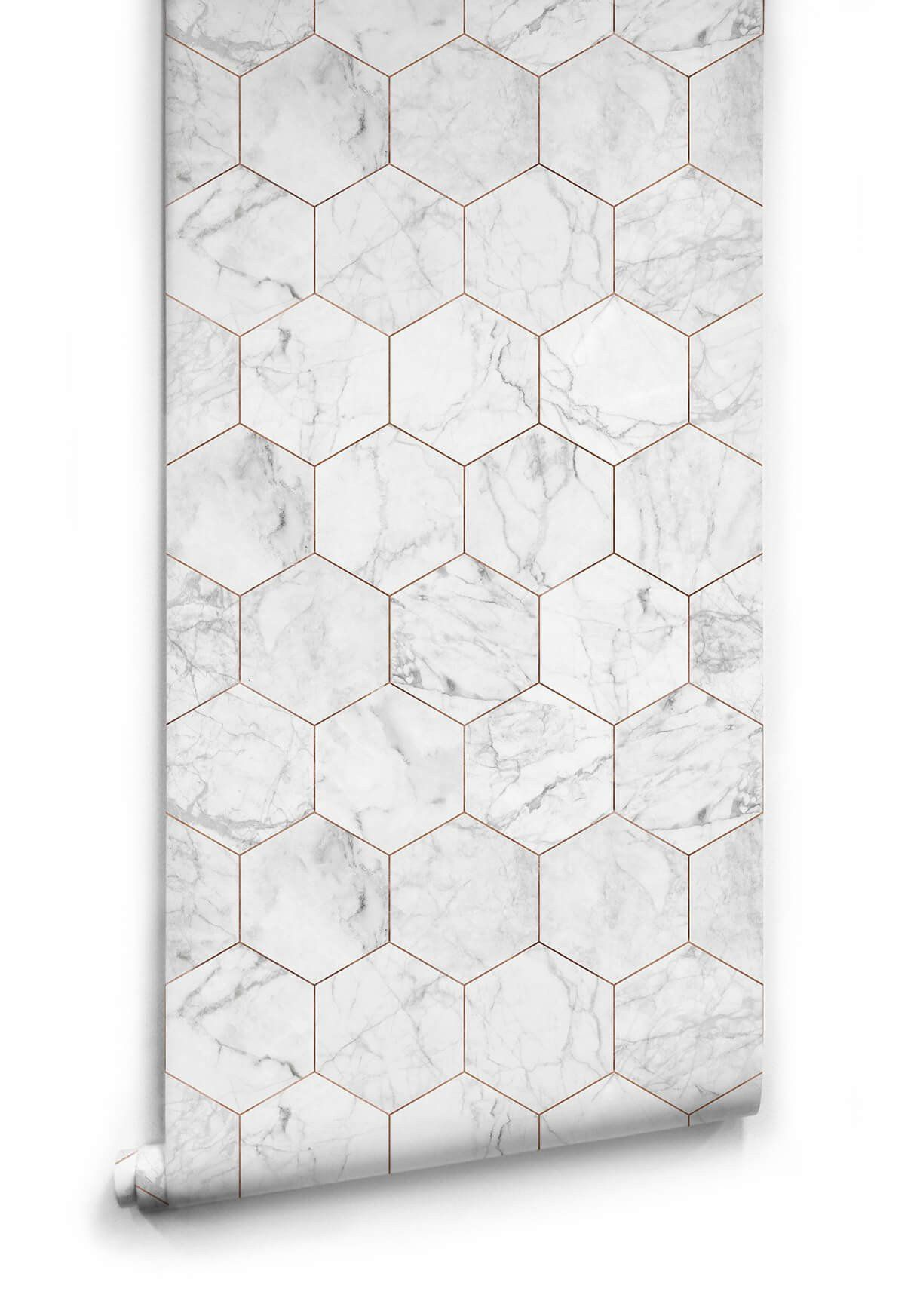 Marble And Copper Tiles Wallpaper From The Kemra Collection Design By Copper Tiles Tile Wallpaper Honeycomb Wallpaper
