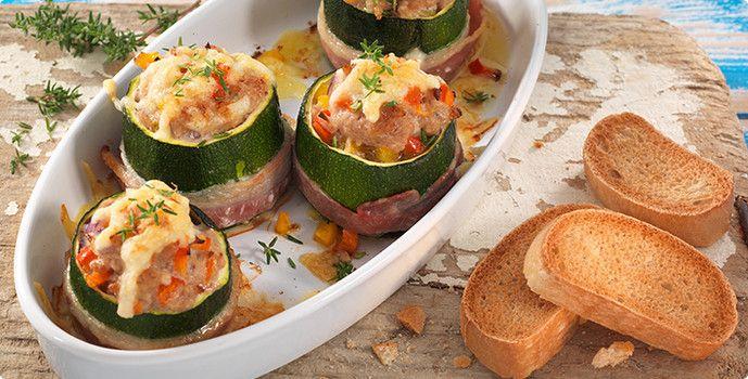 Rezept: Gefüllte Zucchini mit Speck