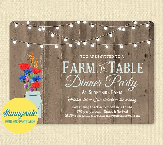 Farm to Table event invitation, printable dinner party invite - printable dinner invitations