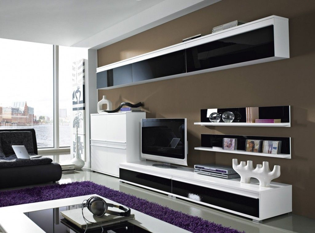 Basic Collection Big TV Unit Including Led Spot Light - Gloss - wohnzimmer weis schwarz lila