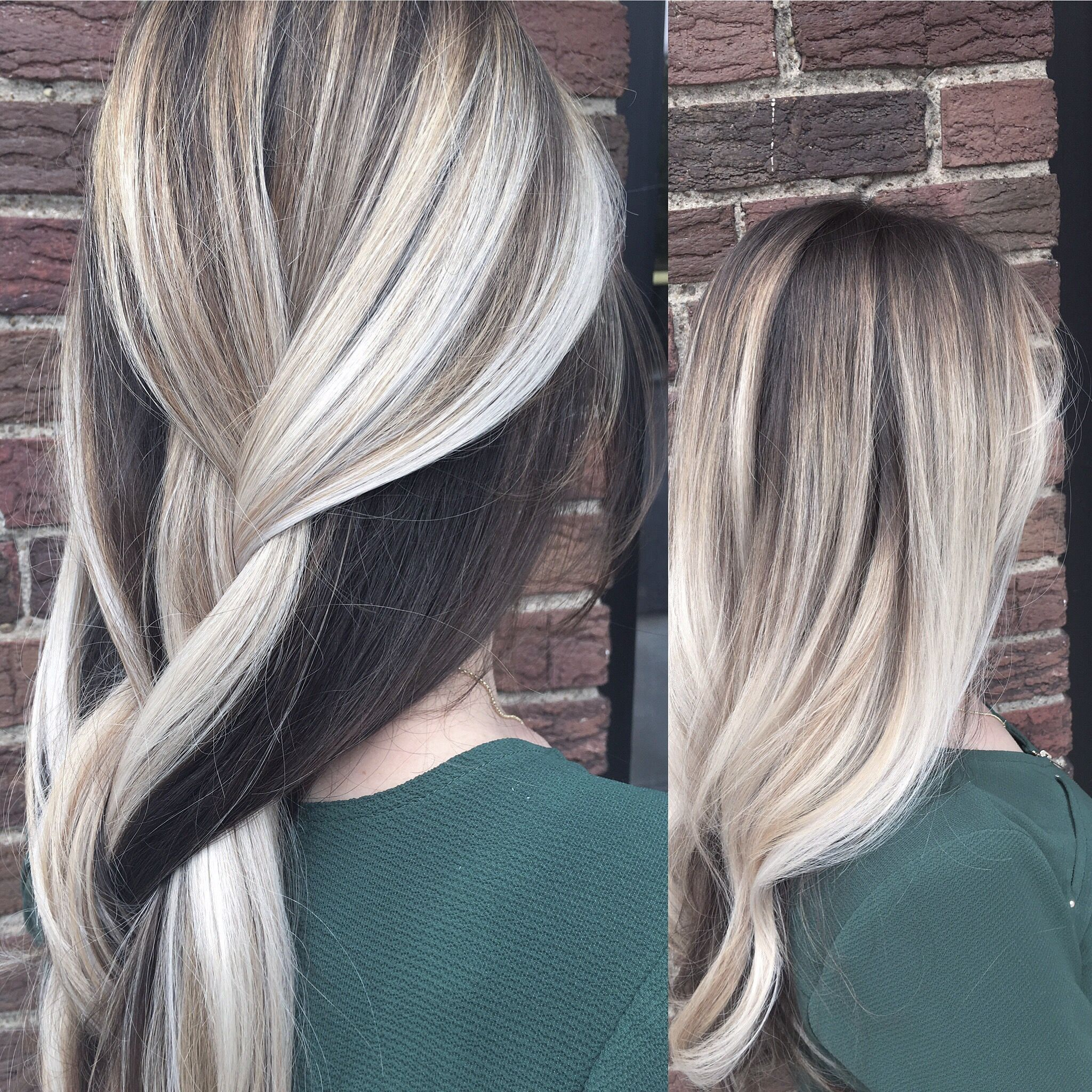 Blonde balayage, icy blonde hair, blonde hair, dark underneath!