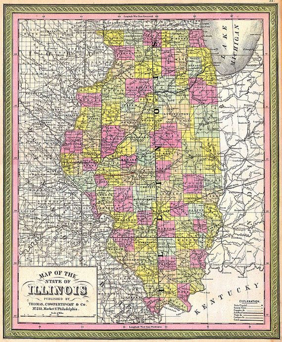 Illinois map (1850), scanned version of an old original map of the ...