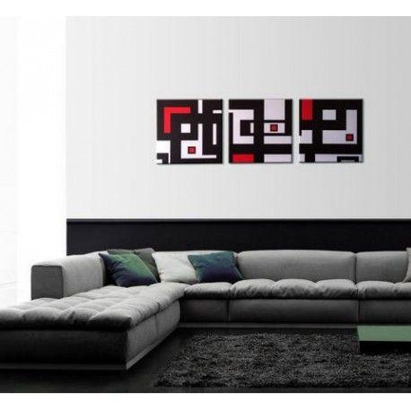 Tableau triptyque déco au style moderne Peinte main, cette peinture - deco salon rouge blanc noir