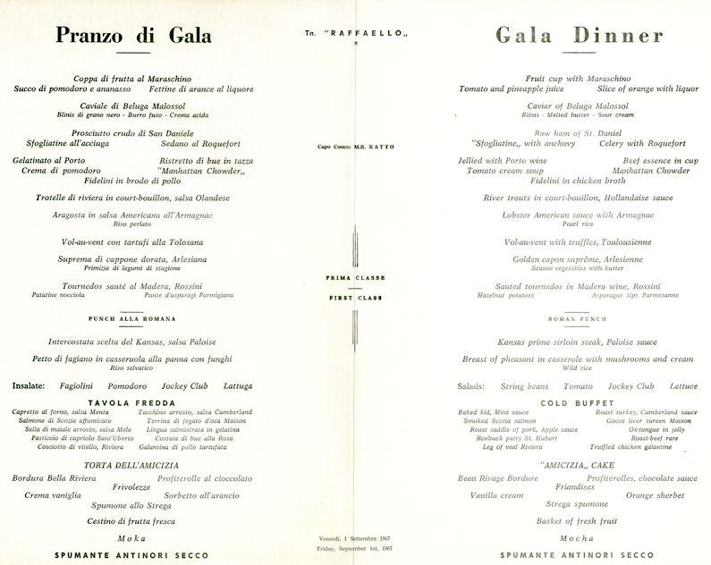 SS Raffaello Gala Dinner Menu, 1967 vintage Pinterest Gala - dinner menu