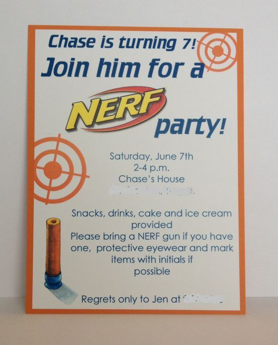 Image Result For Nerf Party Invitations Template Free Kids - Party invitation template: nerf war party invitation template