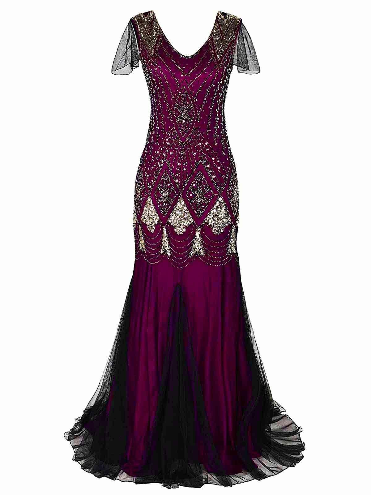 1920s Sequined Maxi Flapper Dress Women S Evening Dresses 1920s Dress Dresses [ 1600 x 1200 Pixel ]