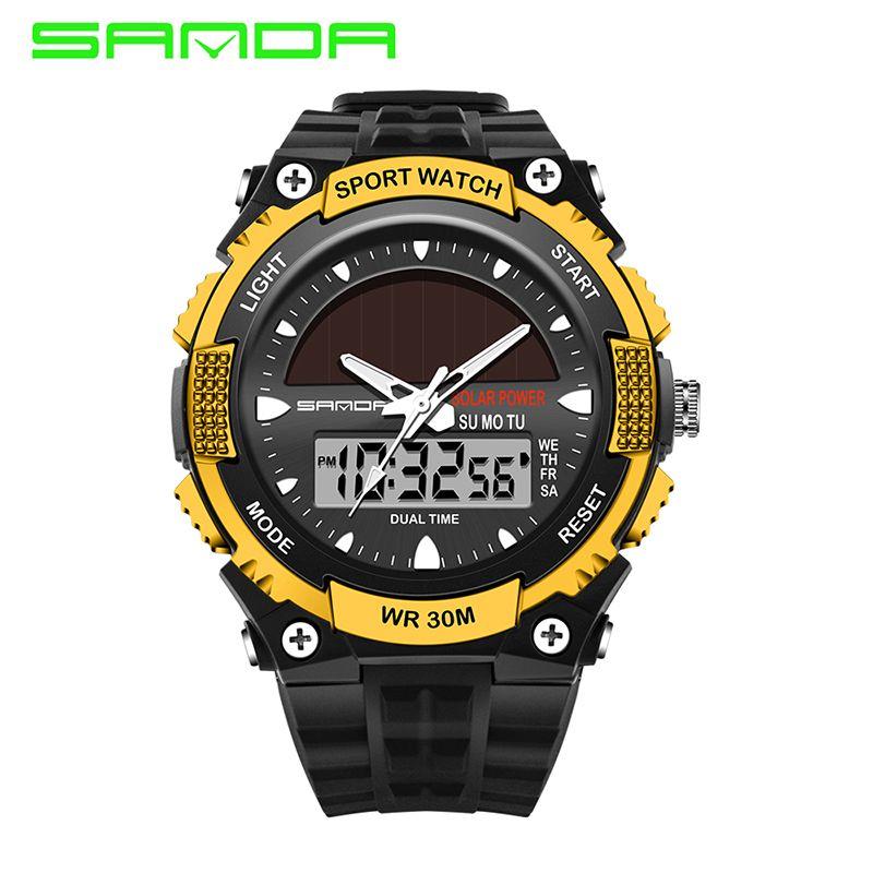 New Fashion Japan Movt Men Sport Solar Watch Led Dual Timezone Digital Analog Wristwatch Delicate Waterproof Wrist Watch OP001