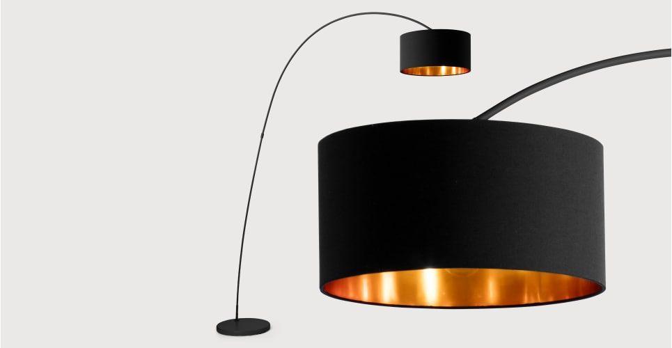 Sweep staande lamp in matzwart met koper floor lamp living room