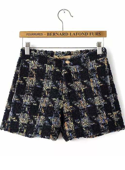 Black Metallic-Blend Sequined Plaid Shorts 19.17
