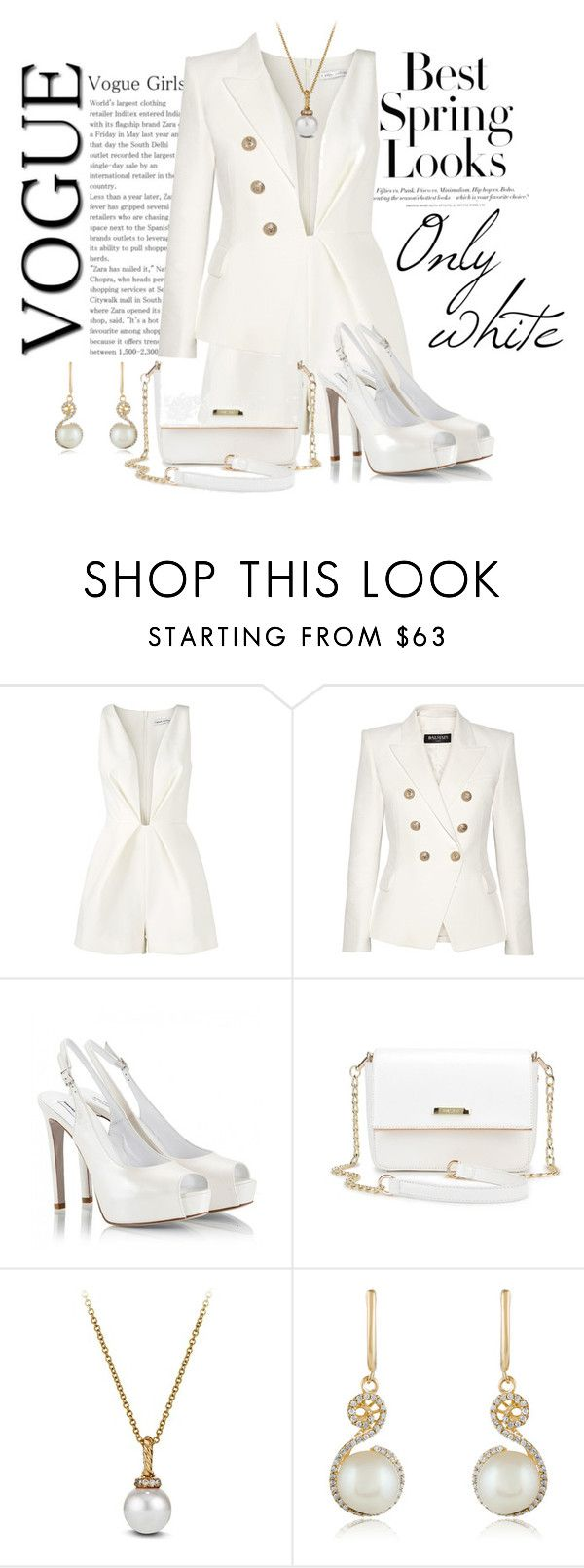 """""""Only white"""" by elona-makavelli ❤ liked on Polyvore featuring H&M, Finders Keepers, Balmain, Fratelli Karida, David Yurman and Effy Jewelry"""