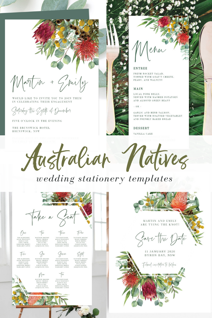 Australian Natives printable wedding templates! Ficus and