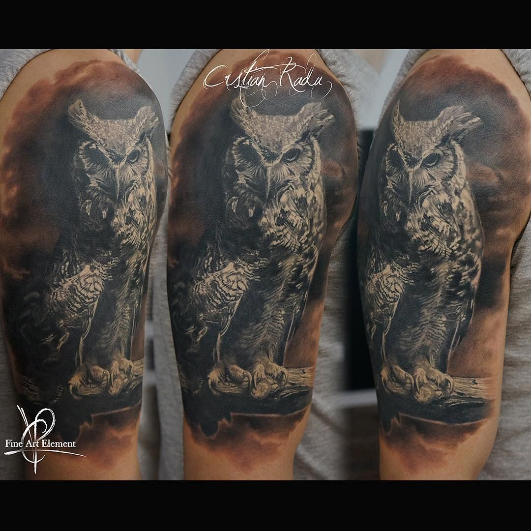 Owl Realistic Black White Tattoo By Cristian Radu Tattoo Artist Black White Tattoos White Tattoo Cool Tattoos