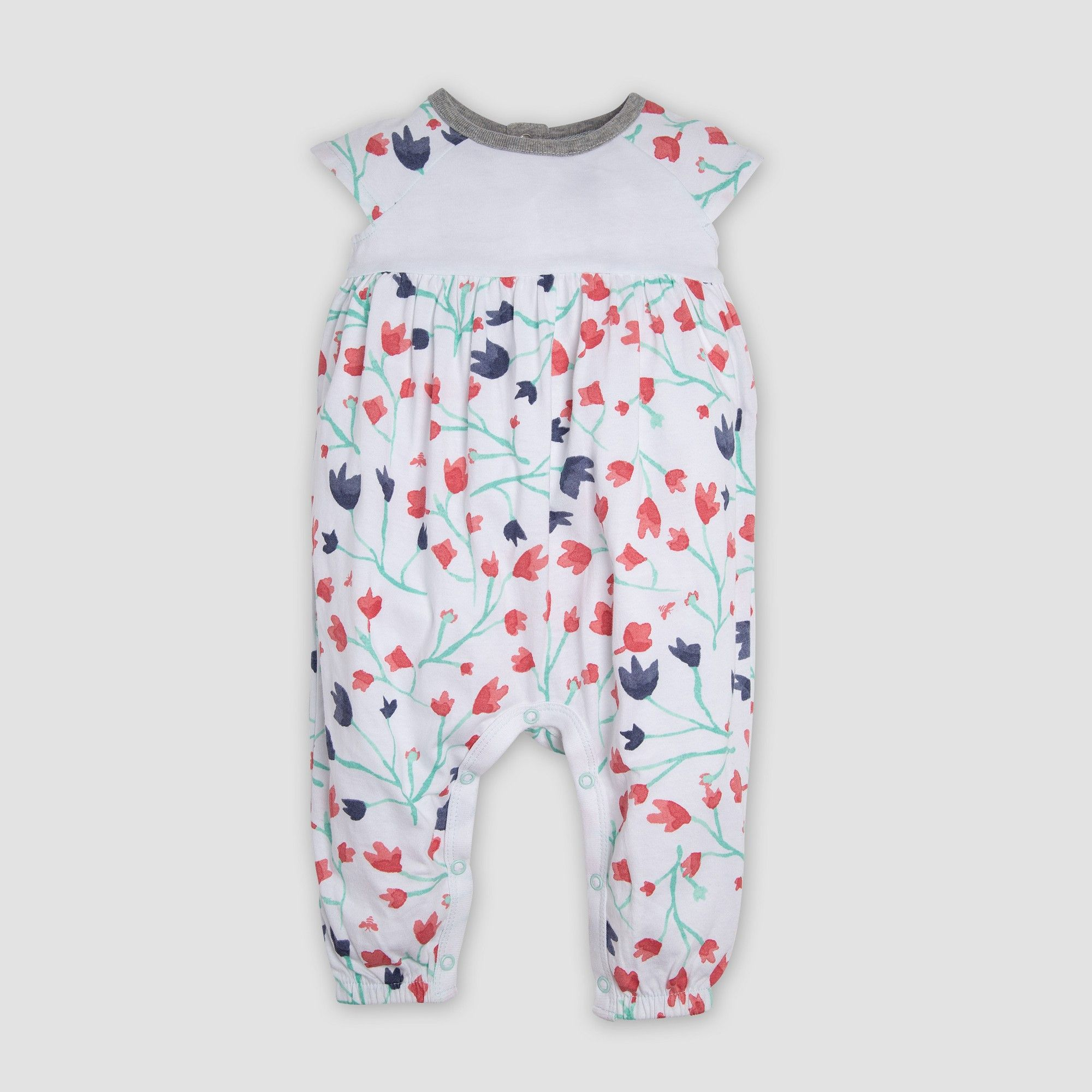 3a7fe08e0bc Burt s Bees Baby Baby Girls  Floral Organic Cotton Coveralls - Pink Newborn