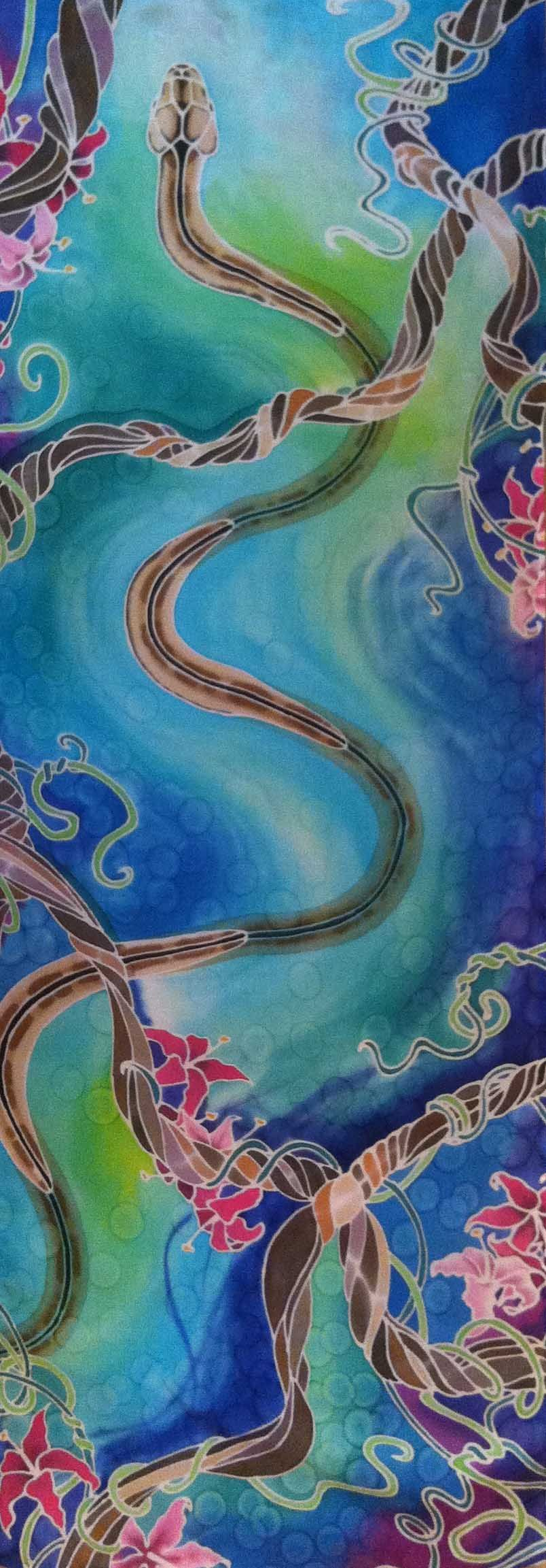 """Water Snake"" silk painting by Pamela Glose, 43 x 15 inches.  See her blog at www.MySilkArt.com."