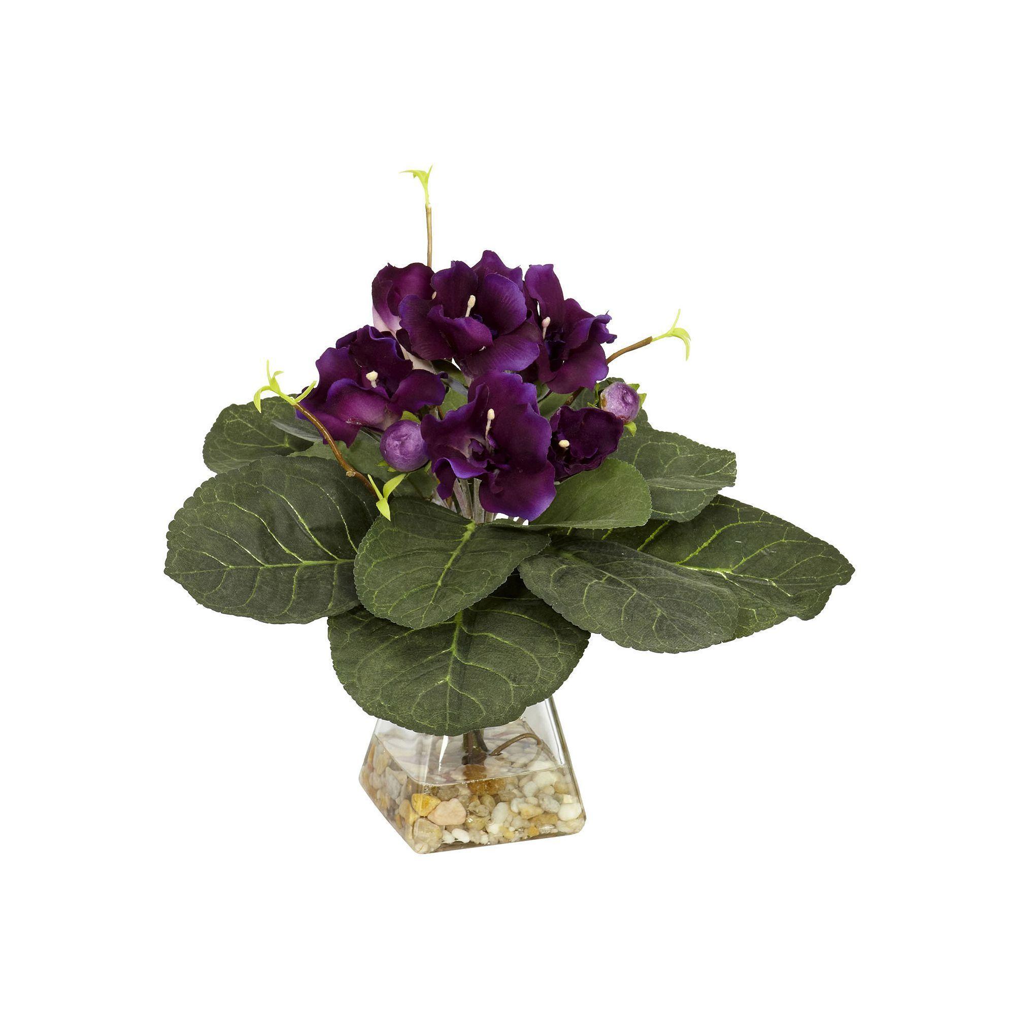 Nearly Natural Silk Gloxina Plant Purple Products