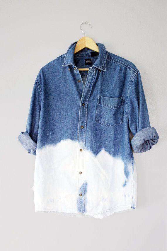 2391675aea4 90s Grunge Unisex Dip Dye Ombre Bleached Denim Long Sleeve Shirt Top  Oversized