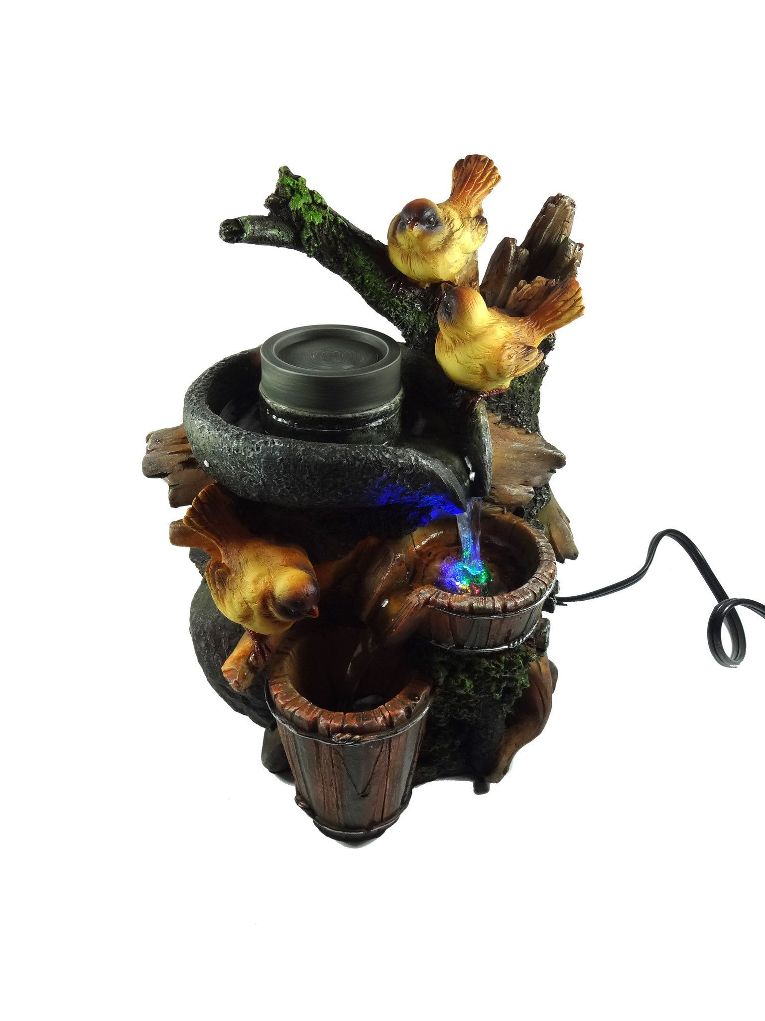 Tabletop fountain with led lights, Birds on a branch near