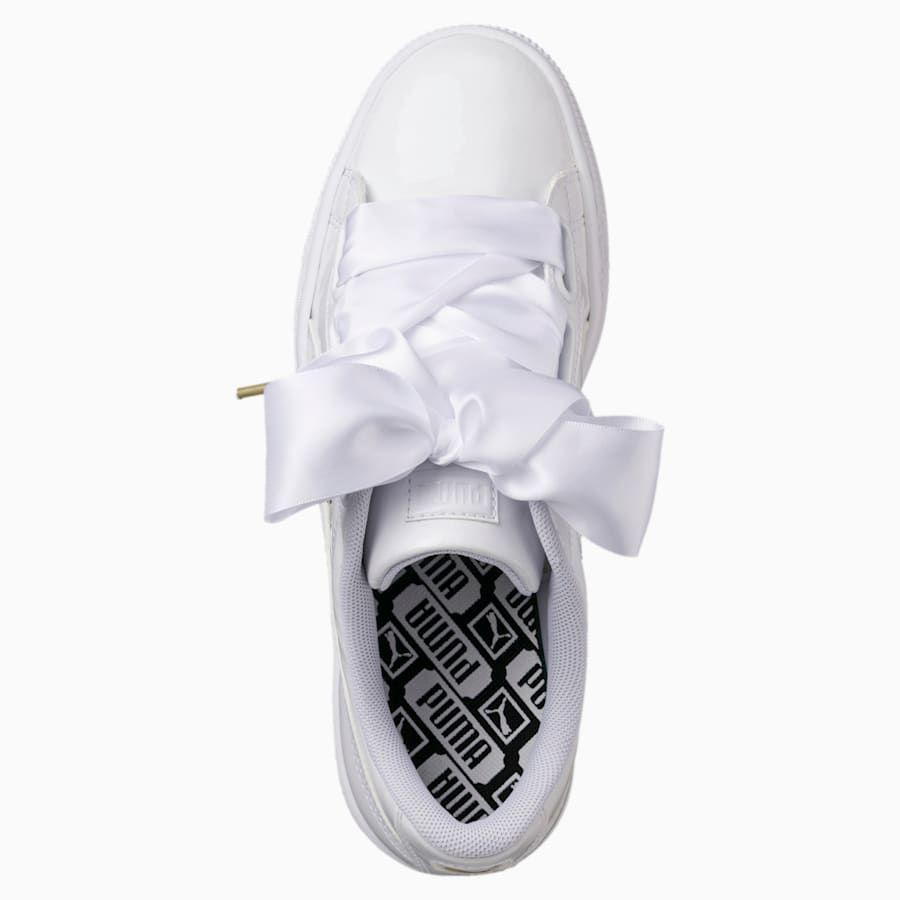 puma basket heart patent femme blanc
