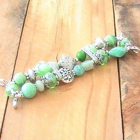 Light Green and Silver Beaded Watchband, Stretchy, Interchangeable