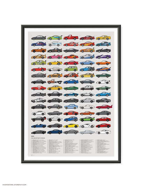 cars of fast and furious poster etsy
