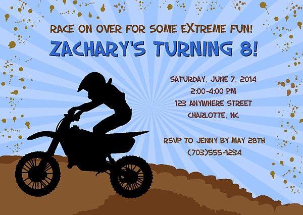 Dirt Bike Motocross Birthday Party Invitations 100 Each Festivityfavors