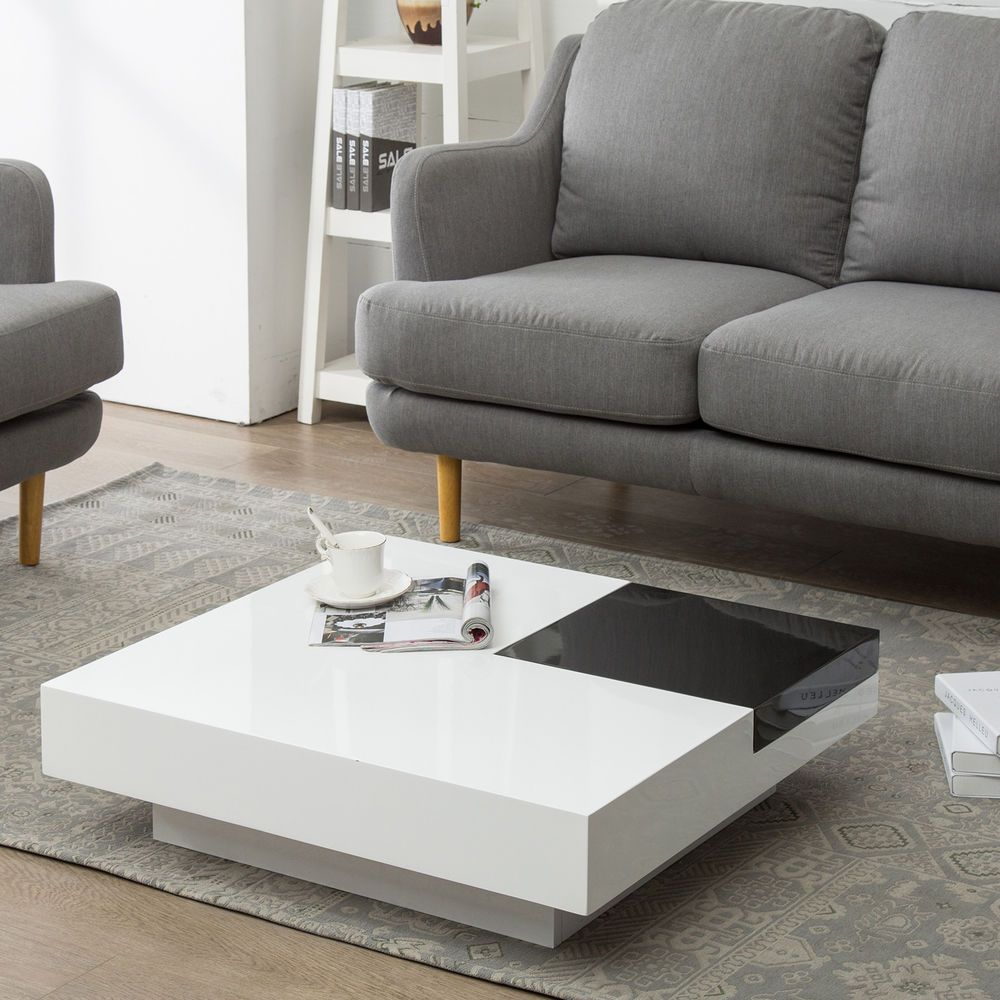 Square Storage Space Coffee Table W Removable Tray Living Room Black Coffee Table Living Room Coffee Table Modern Square Coffee Table