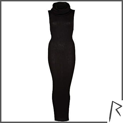#RihannaforRiverIsland Black Rihanna rib roll neck midi dress. #RIHpintowin click here for more details >  http://www.pinterest.com/pin/115334440431063974/