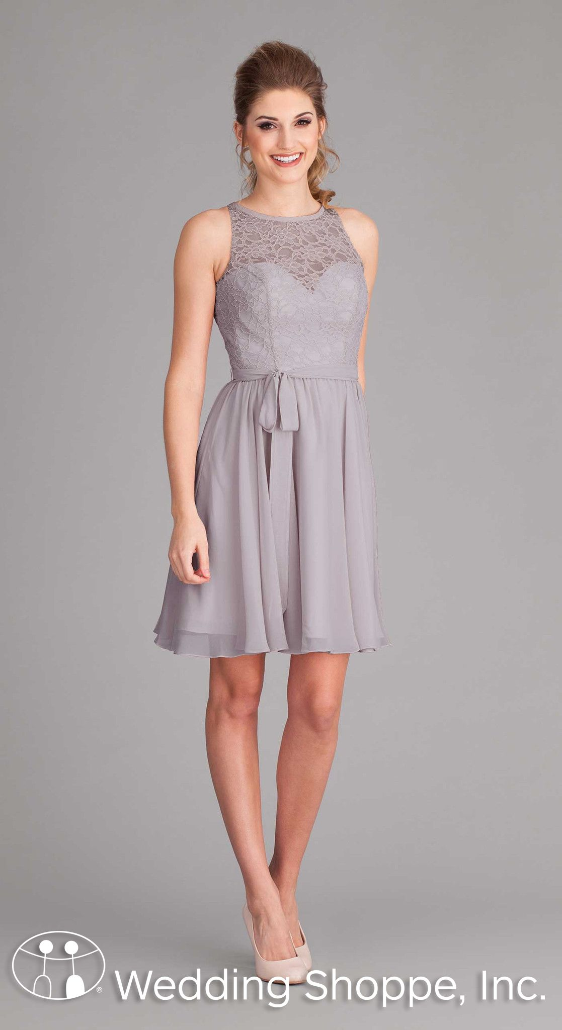 Light grey lace bridesmaid dresses