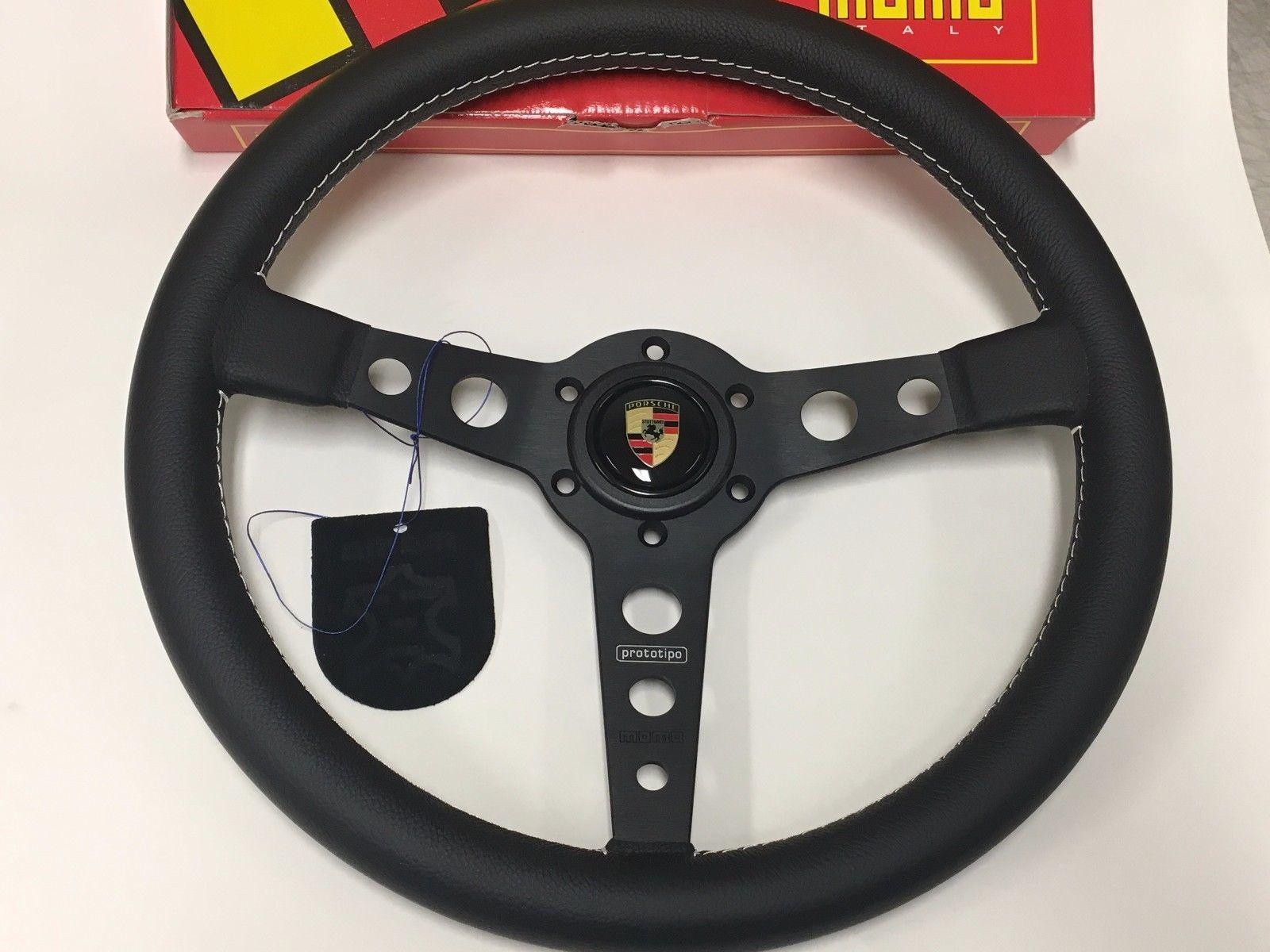 momo prototipo steering wheel black leather pro35bk2b. Black Bedroom Furniture Sets. Home Design Ideas
