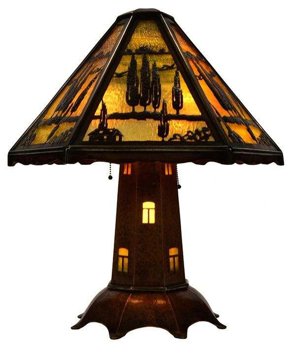"Limbert table lamp, ""windmill"" variation, scenic hexagonal shade with a landscape overlay of cypress trees and flying geese, textured glass inserts, hammered copper base with window cut-outs, some touch-up to patina, 22""w x 24""h  