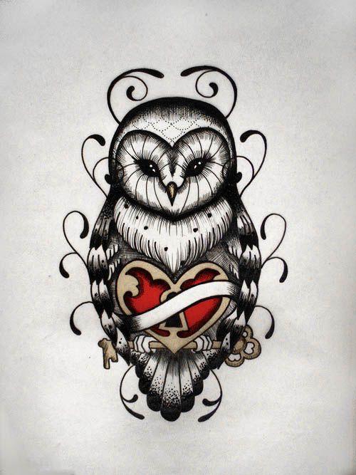 Old School Owl Tattoo Owl Tattoo Designs Heart Lock Design