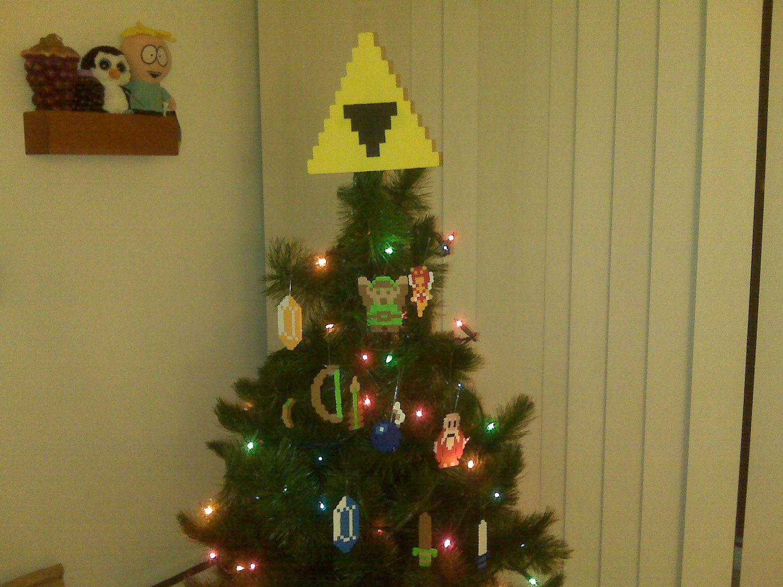 Legend Of Zelda Perler Bead Triforce Christmas Tree Topper And Ornament Set 12 Piece 45 Christmas Tree Toppers Nerdy Christmas Tree Unique Christmas Trees