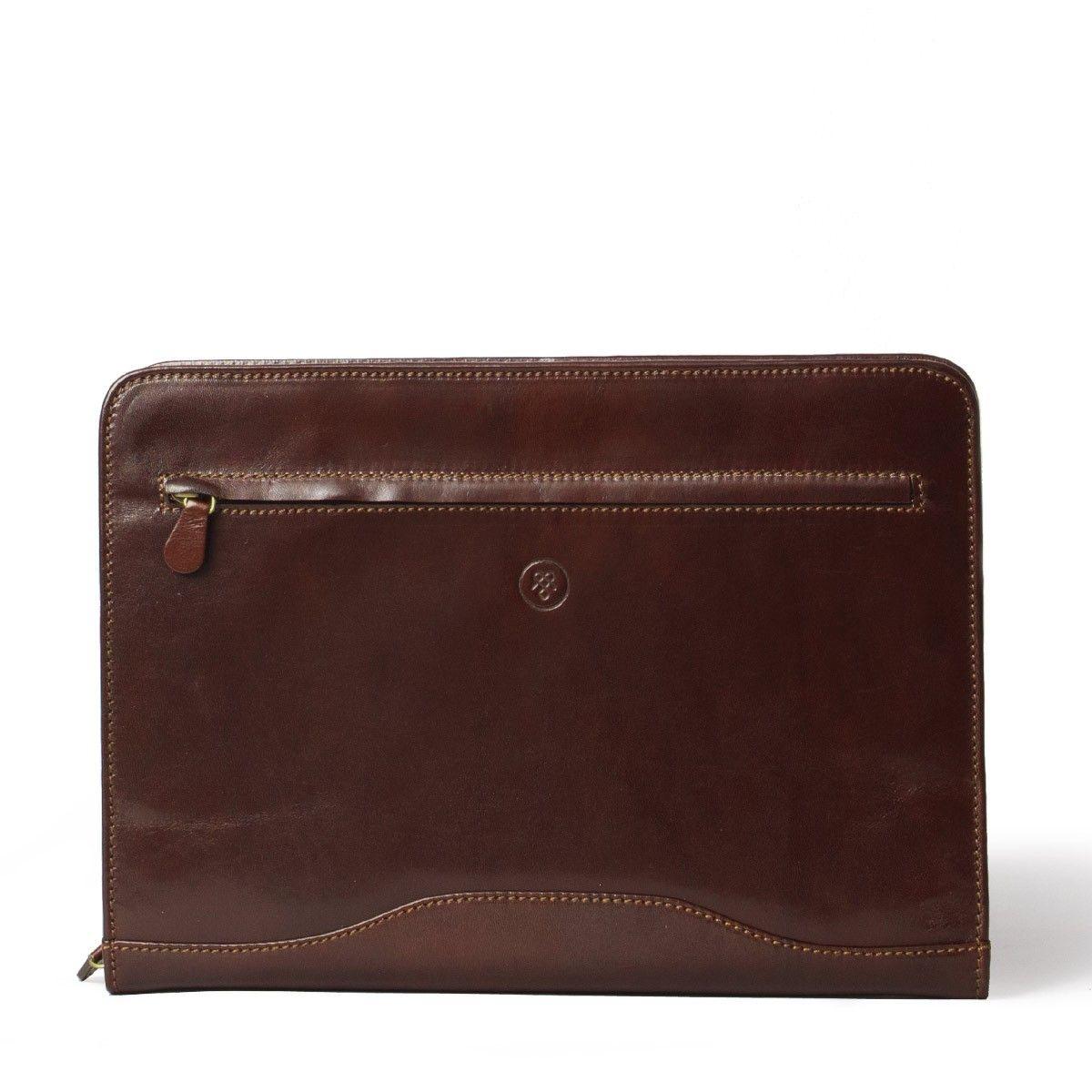 Leather Ring Folder Portfolio With Zip