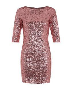 add49d1d Petite Pink 3/4 Sleeve Sequin Bodycon Dress   New Look   Short ...