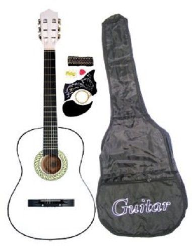 First Acoustic Guitar White Learn Play Country Music Child Band Instrument Hot Guitar Guitar For Beginners Acoustic Guitar